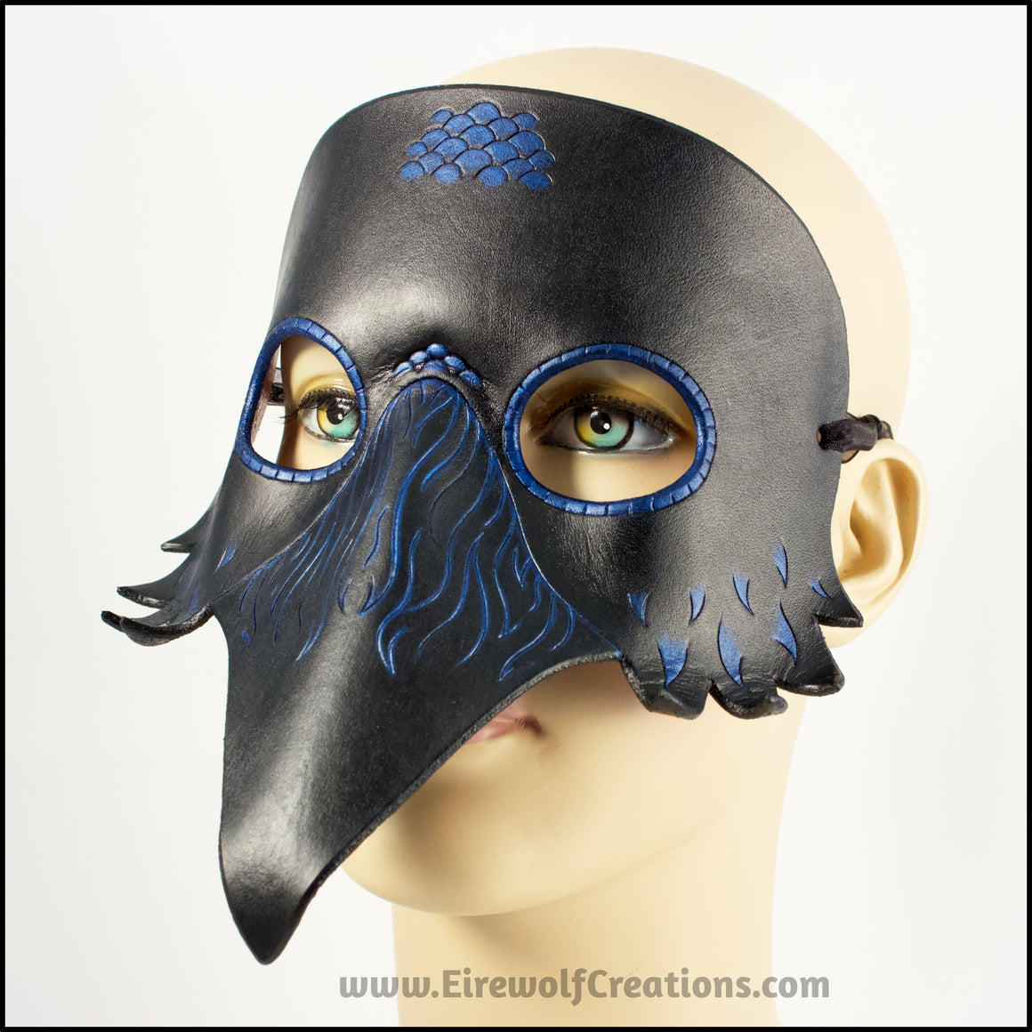 Raven mask leather crow masquerade costume Halloween Mardi Gras Trickster larp black bird