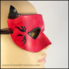 A handmade leather Horned Red Devil mask for a masquerade costume, with small black horns and black hot rod style flames. By Erin Metcalf of Eirewolf Creations.