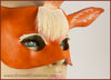 A handmade leather palomino unicorn mask for a masquerade costume, with a twisting horn and cream-colored forelock made of real deer hair. By Erin Metcalf of Eirewolf Creations.