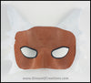 Silver Wolf half mask for a masquerade costume, handmade from leather and painted white with silvery fur details. By Erin Metcalf of Eirewolf Creations.