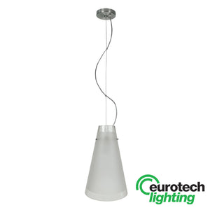 Eurotech Cone-Shaped Sand-blasted Glass LED Pendant - The Lighting Shop NZ