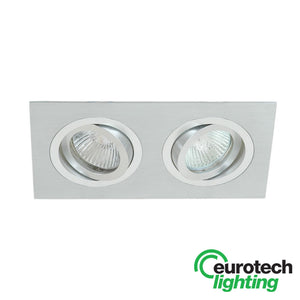 Eurotech LED Double Small Tiltable Downlights -- Brushed Aluminium - The Lighting Shop NZ