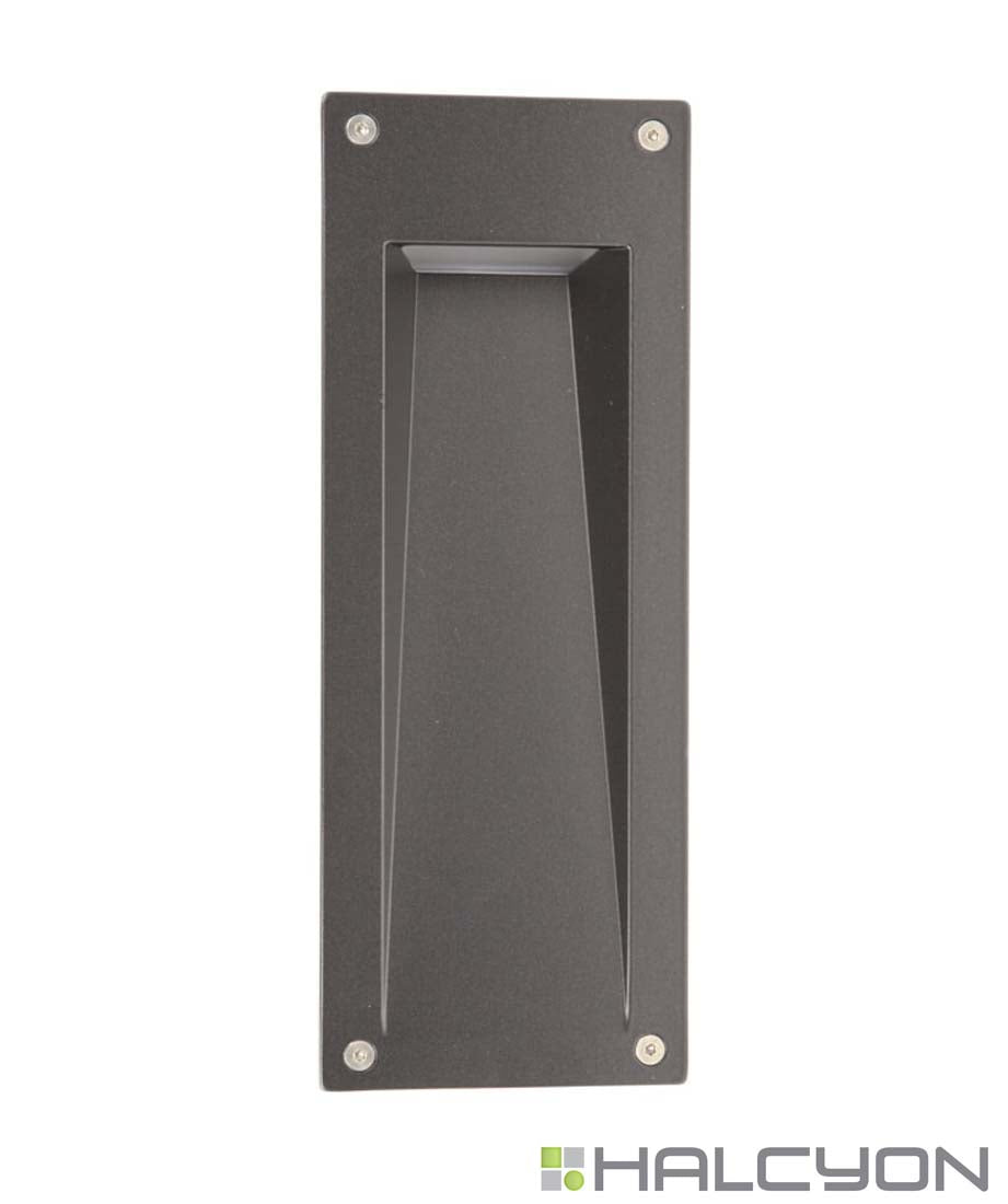 Halcyon LED Exterior Wall Light Vertical Mount – Recessed Rectangle Louvre