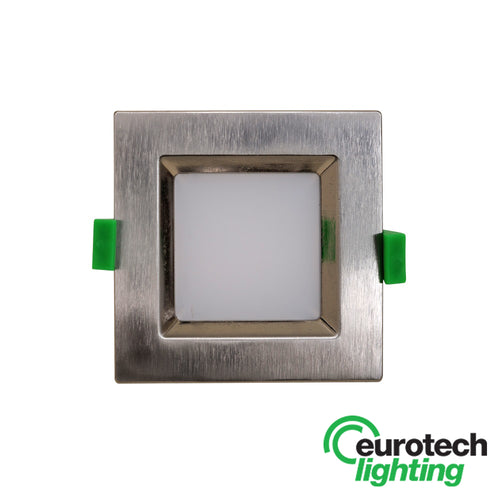 Eurotech Square Brushed Chrome LED Downlight - The Lighting Shop NZ