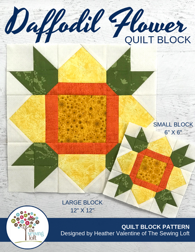 Daffodil Flower Quilt Block Pattern