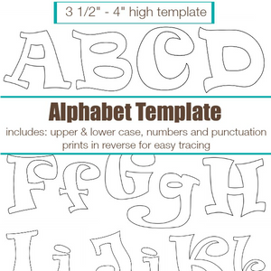 Curly Funk Alphabet Applique Pattern Template