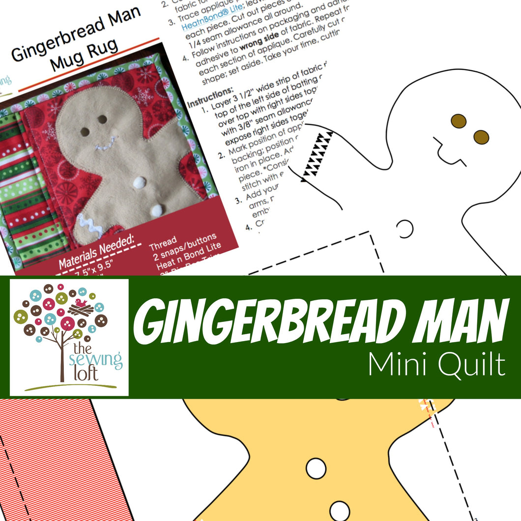 Gingerbread Man Mini Quilt - Mug Rug