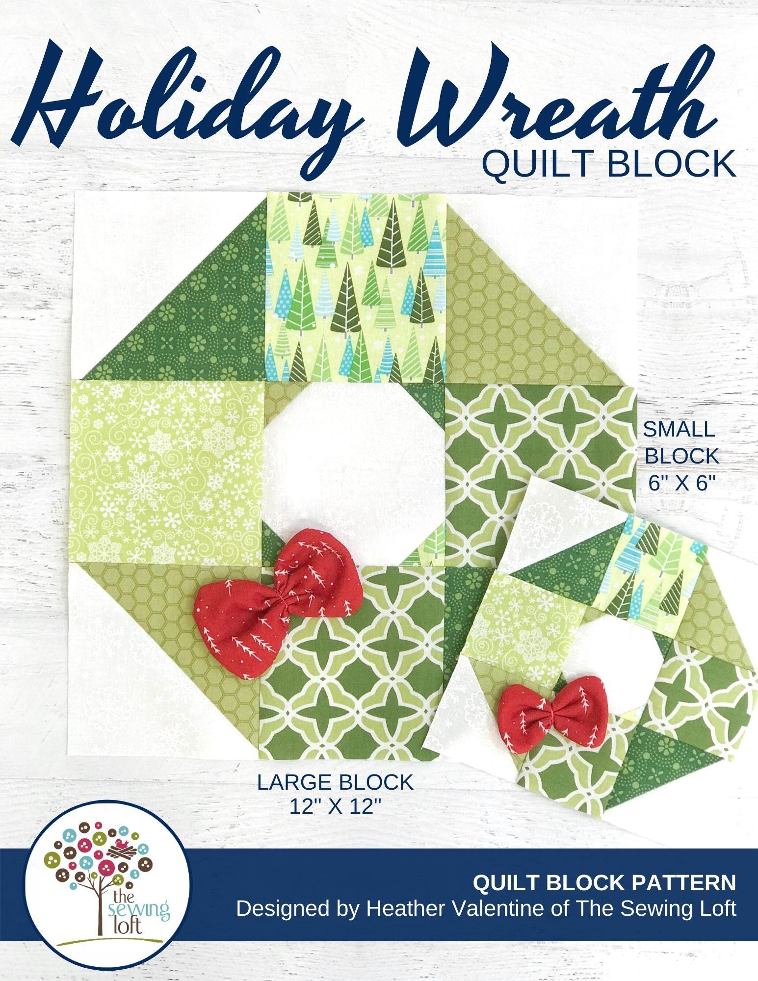 Holiday Wreath Quilt Block Pattern Thesewingloft