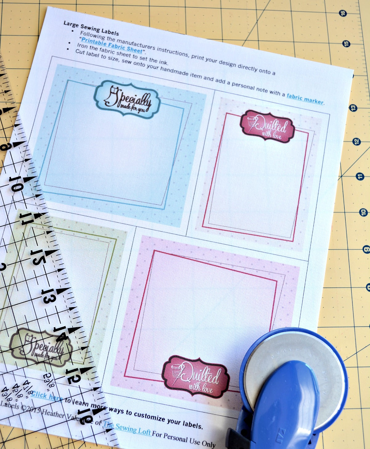 photo relating to Printable Fabric Labels identified as High Printable Quilt and Sewing Labels