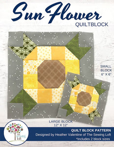 Sunflower Quilt Block Pattern