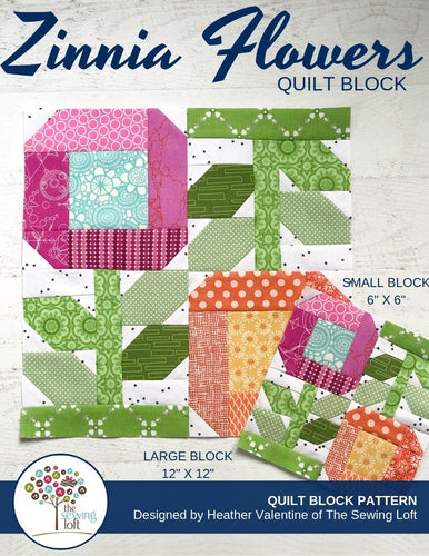 Zinnia Flowers Quilt Block Pattern