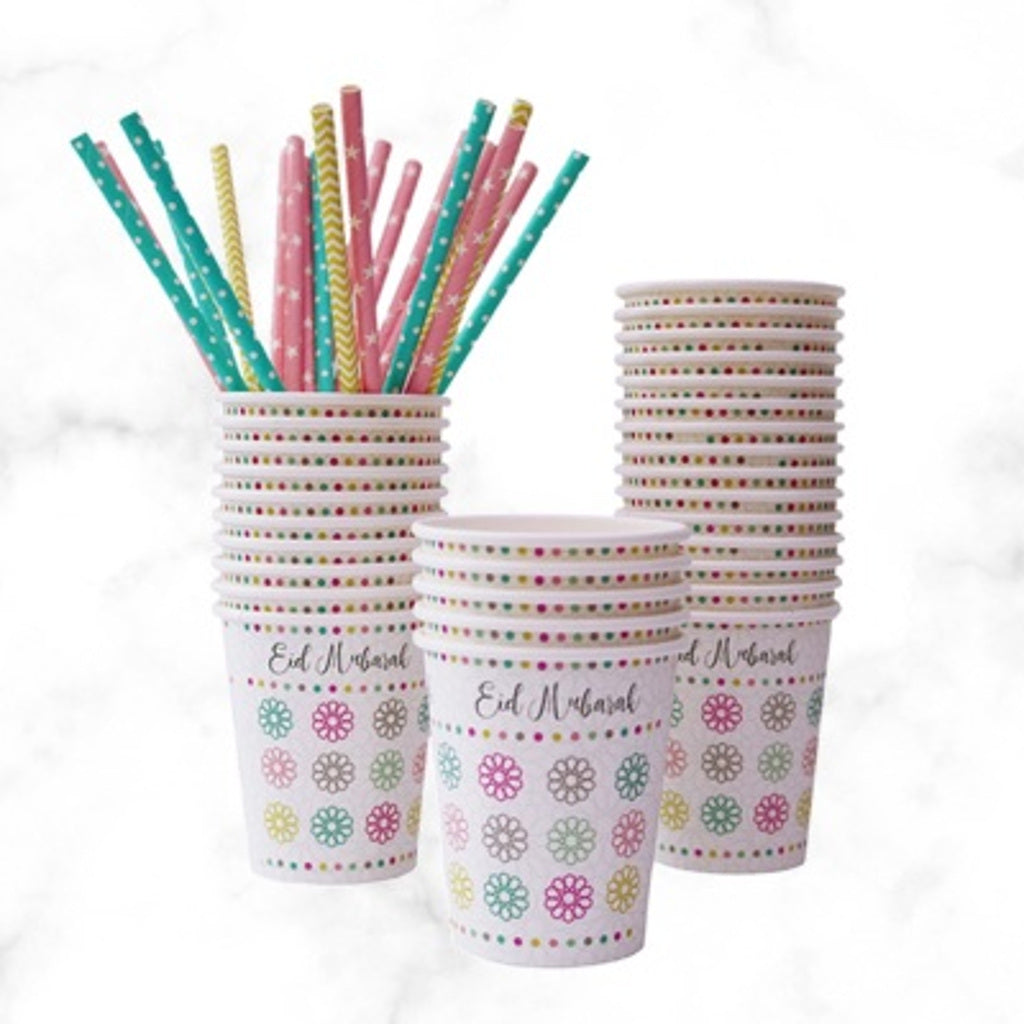 Eid Mubarak Paper Cups with Geometric Pattern
