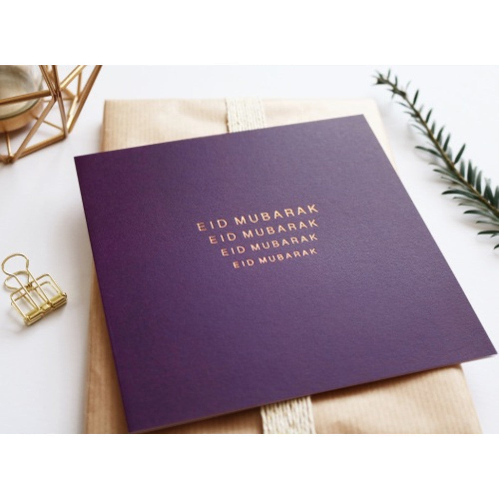 Rose & Co Luxury Eid Mubarak Card in Purple