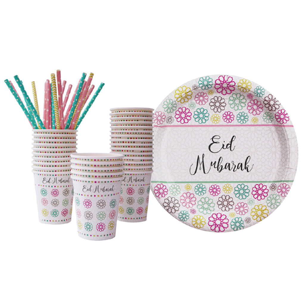 Eid Mubarak Tableware with Geometric Pattern