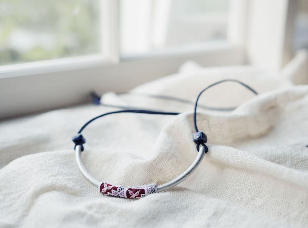 Peace Project Hmong Choker Maroon