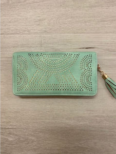 Laser Cut Out Wallet in Black Tan Mint or Pink