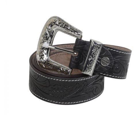 Runner Up Hand Tooled Leather Belt