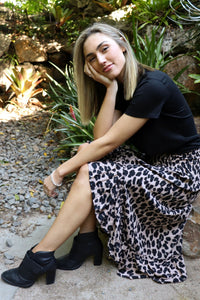 Wild & Free Skirt in Dark Leopard Sitting