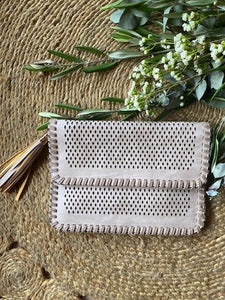 Vegan Diamond Cut Clutch Bag Stone