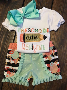 School Cutie Applique Set
