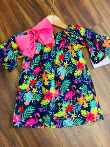 Flamingo Fun Peasant Dress