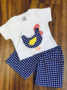 Boys Farm Chicken Applique Set