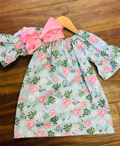 Spring Floral Peasant Dress