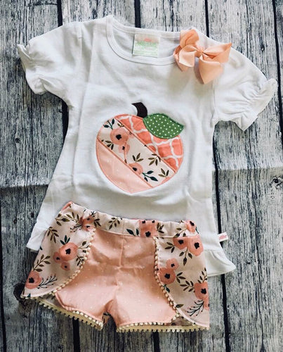 Spring Peach Applique Top and Shorts