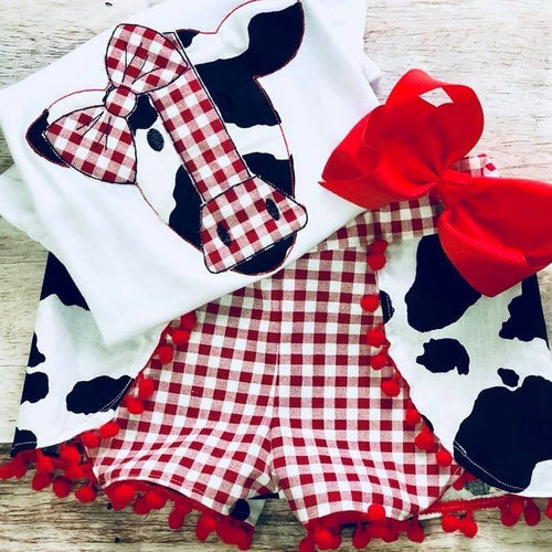 Country Cow Applique Tee and Shorts Set