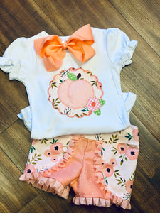 Floral Peach Applique Top and Shorts Set