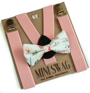 Mini Swag Textiles - Blush Suspenders & Boho Bow Tie Set