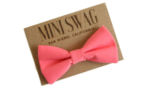 Mini Swag Textiles - Navy Suspenders & Coral Bow Tie Set