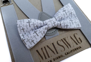 Mini Swag Textiles - Gray Suspenders & Christian Cross Bow Tie Set
