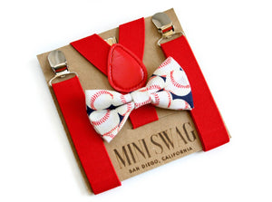 Mini Swag Textiles - Red Suspenders & Boys Baseball Bow Tie Set