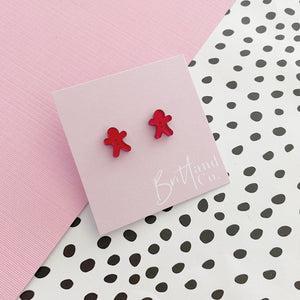 Red Mirror Gingerbread Studs