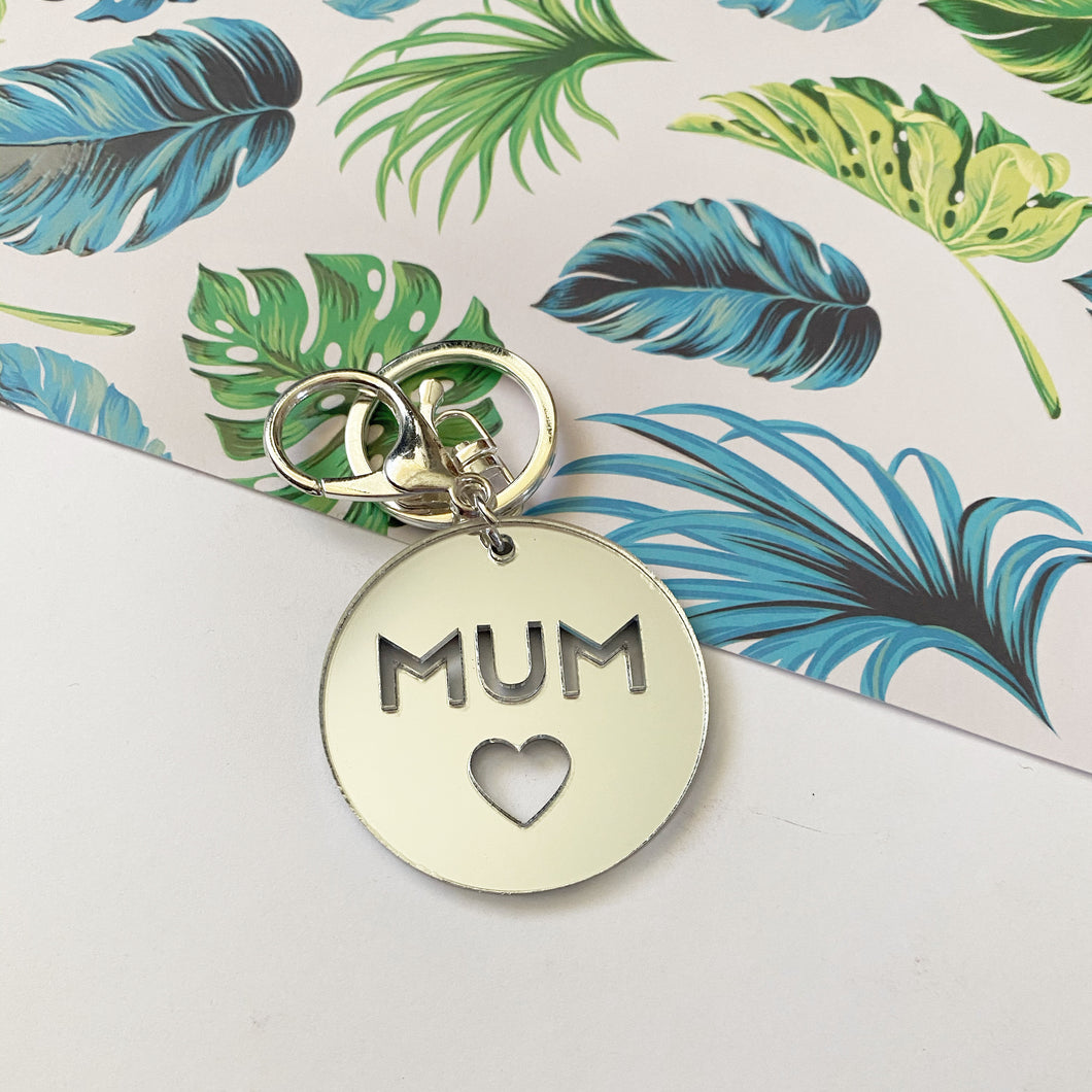 CLEARANCE- MUM - Silver Mirror Key Ring