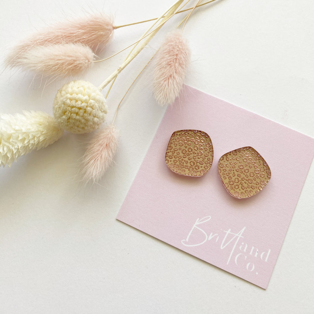 Rose Gold Leopard Mirror Statement Studs