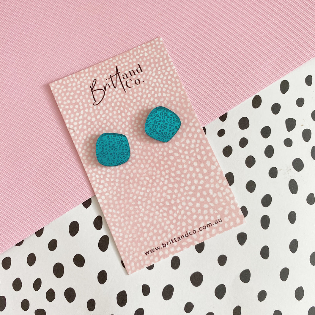Mini Teal Leopard Mirror Studs