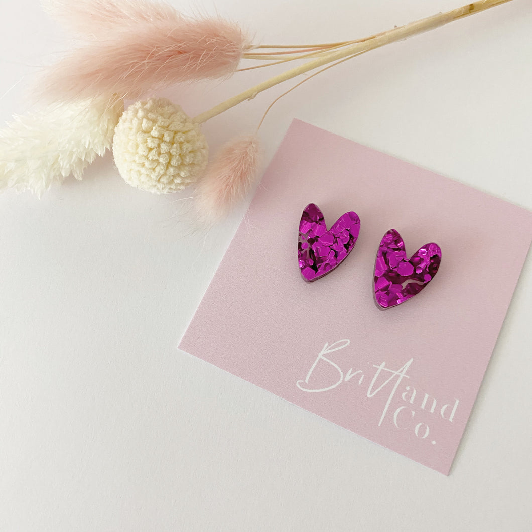 Glitter Purple Cutie Pie Heart Studs