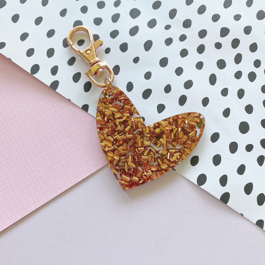 Copper Sparkle 'Spread The Love' Keyring Ring