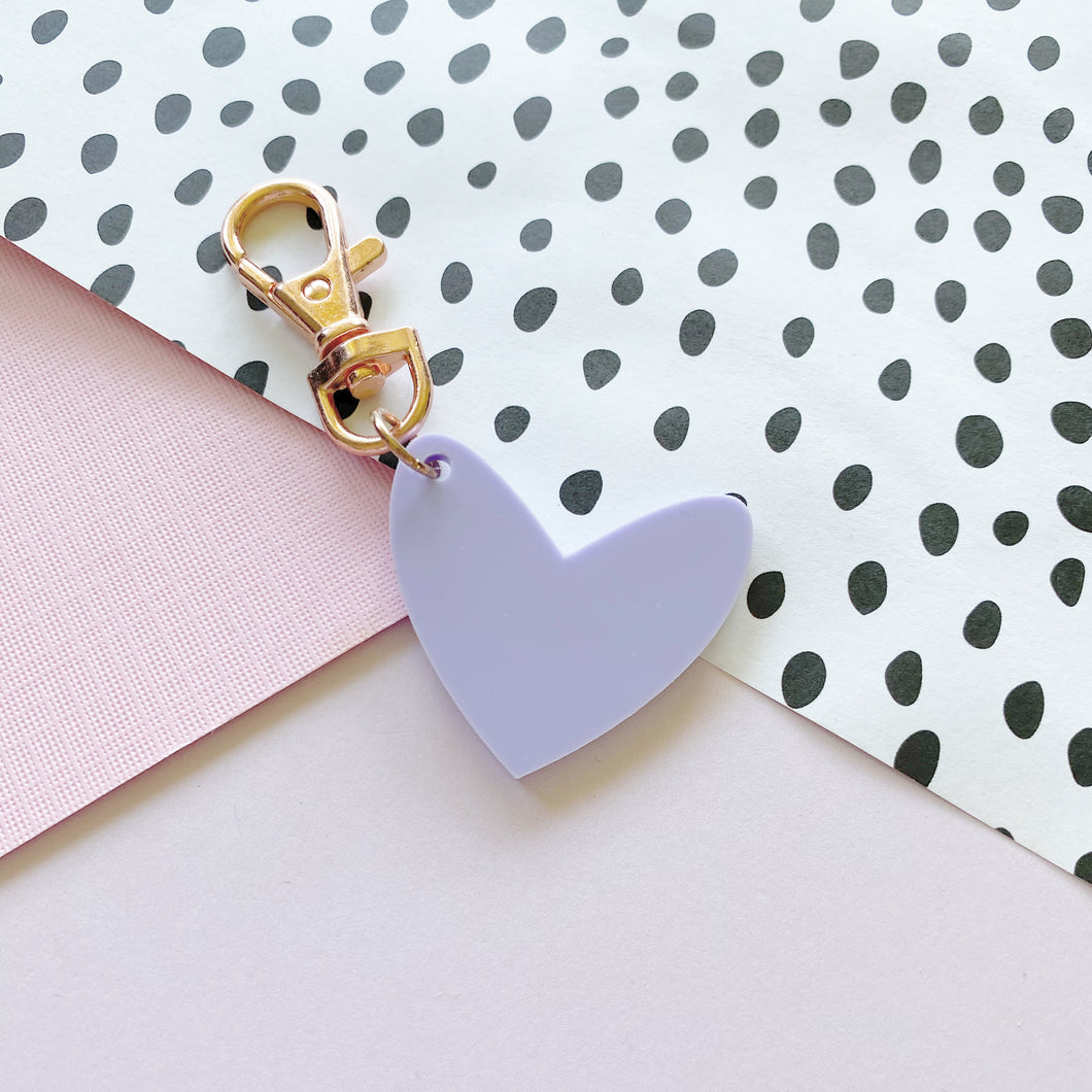 Mini Pastel Purple 'Spread The Love' Keyring Ring