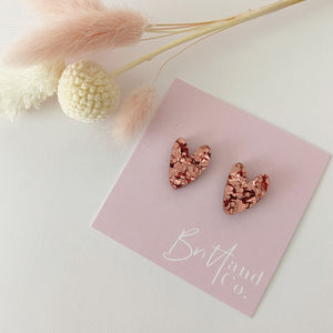 Rose Gold Glitter Cutie Pie Heart Studs