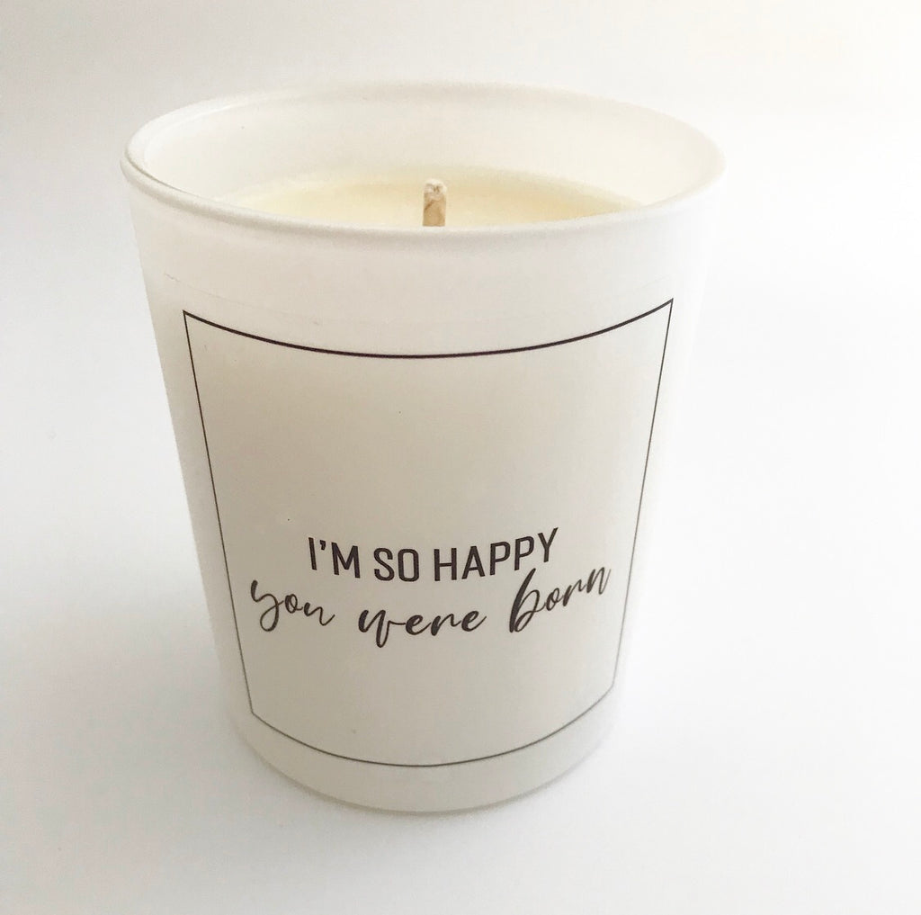 'I'm So Happy' Glass Candle