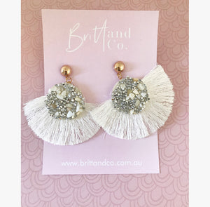 Boho White Earrings
