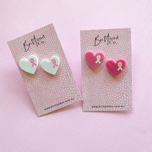 Pink Ribbon Stud Earrings