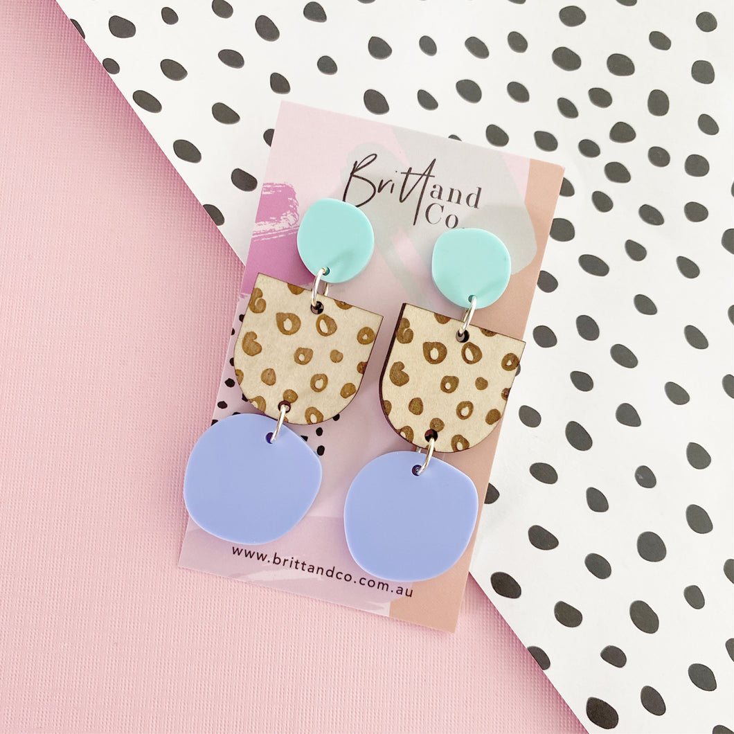Pastel Wooden Leopard Statement Earrings