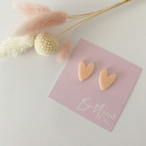 Peach Cutie Pie Heart Studs