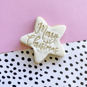 Merry Christmas Star Sugar Cookies