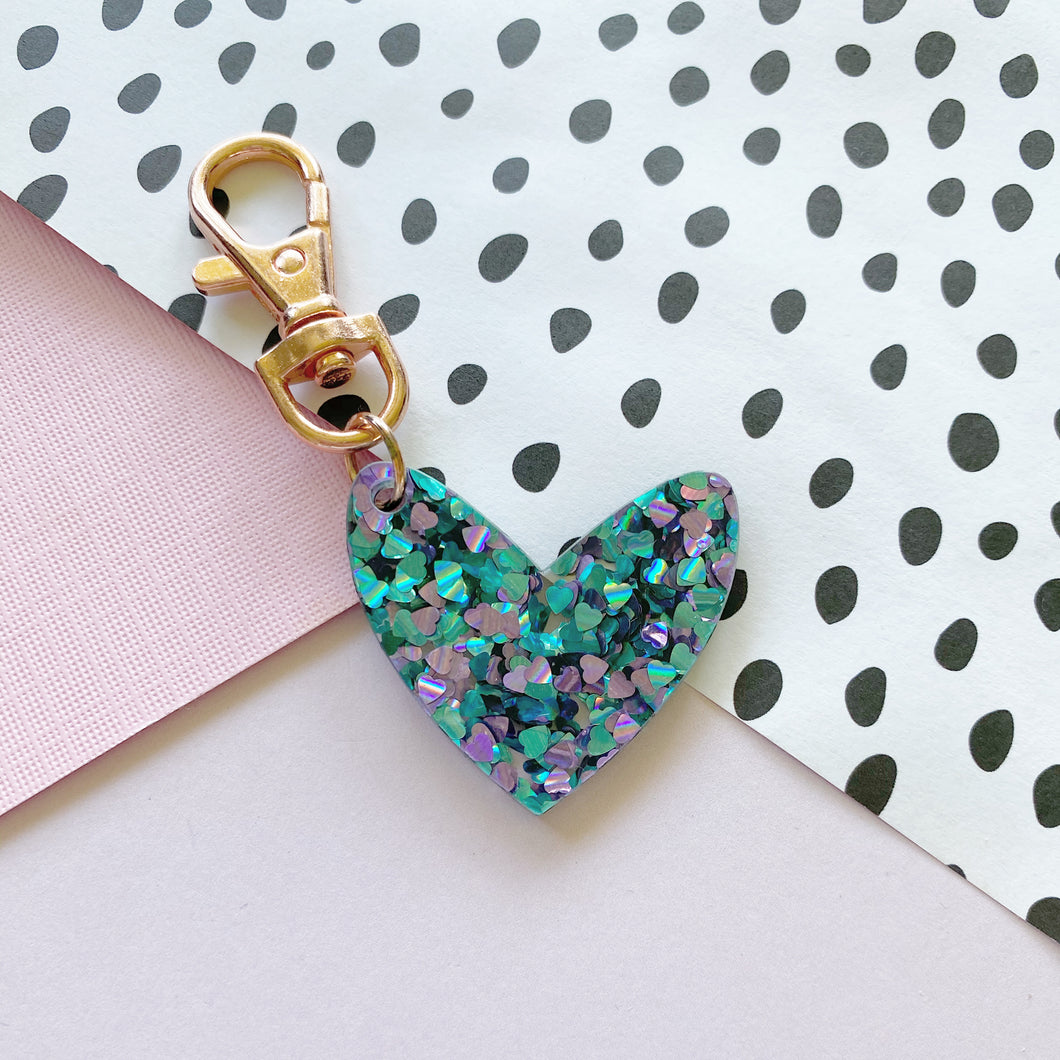 Mini Mermaid Confetti 'Spread The Love' Keyring Ring