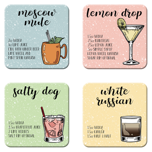 Vodka Cocktail Coaster Set